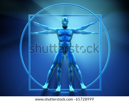 Vitruvian man - this is a 3d render  illustration