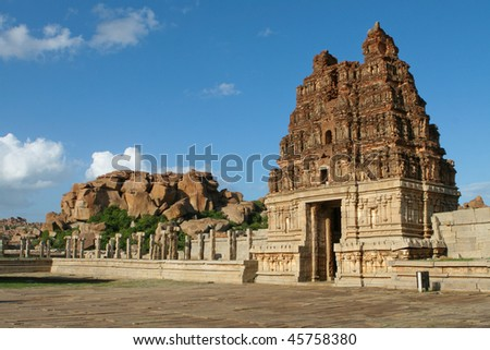 Vittala temple in Hampi, Karnataka province, South India, UNESCO world heritage site.