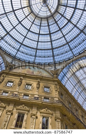 Vittorio Emanuele gallery cristal ceiling at Milan, Italy