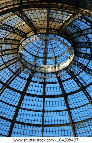 Vittorio Emanuele II Gallery, glass dome and ornaments, Milan, Italy - stock photo
