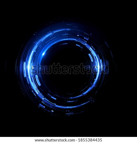 Vivid abstract background. Beautiful design of rotation frame.  Mystical portal. Bright sphere lens. Rotating lines. Glow ring. Magic neon ball. Led blurred swirl. Spiral glint lines. HUD