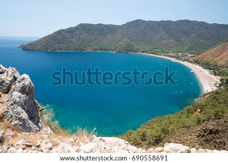 Vivid blue sea laguna background Turkey #690558691