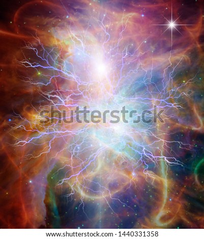 Vivid colorful universe with lightnings. Eternal Energy. 3D rendering