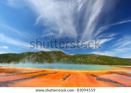 Vivid colors of Grand Prismatic Spring in Yellowstone National Park - USA