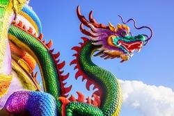 vivid dragon sculpture at Buddhist temple,Thailand