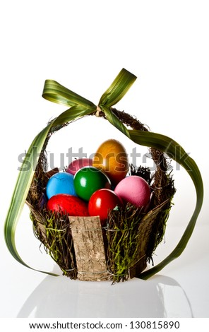 Vivid Easter egg basket on white background