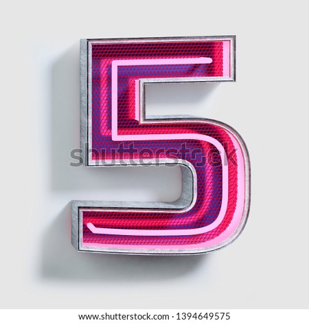 Vivid Fluorescent Neon Font. Number 5. City light electric Alphabet. 3d Rendering Isolated on Bright Background.