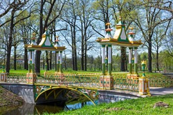 vivid green summer view to Chinese bridges in Pushkin, Russia.