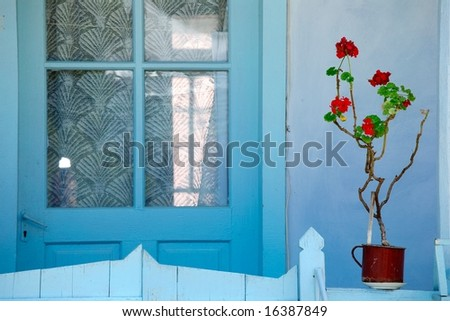 vivid house front door with geranium in Romania - stock photo