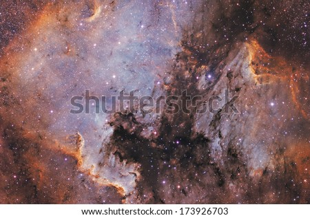 Vivid space nebula - supernova remnant.