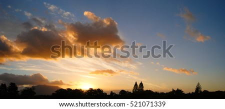 vivid sunset over table mountains