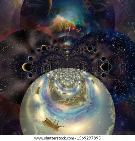 Vivid Universe. Fractal of endless dimensions and fairy sail ship. 3D rendering
