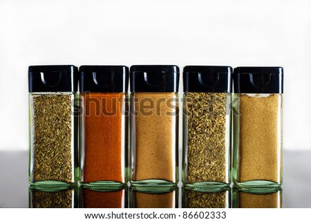vivid variety of spices in glass jar