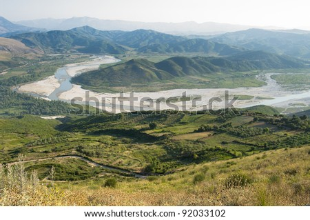 Vjosa River: aerial view of the valley from the ruins of Byllis, Albania #92033102