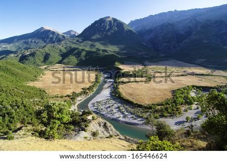 Vjosa river and mountain landscape in Albania