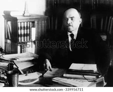 Shutterstock Vladimir Lenin, at his desk between 1920 to 1922. He was the head of the government of Revolutionary Russia from 1917 until his death in 1924.