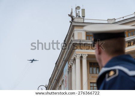 VLADIVOSTOK, RUSSIA - MAY 9, 2015: Planes participate of the parade dedicated to the 70th anniversary of the victory in the Second World War.