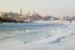 Vladivostok. Russian island. Ice drift. Spring melting ice.