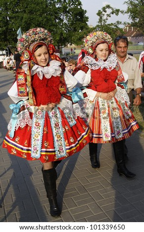 VLCNOV, CZECH REPUBLIC � MAY 27, 2007 � Girls in folk costumes during celebration Ride of the kings on May 27, 2007, Vlcnov. Celebration is on UNESCO list of Intangible Cultural Heritage.