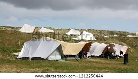 "Vlieland.May-15-2016. Tents in Camping ""Stortemelk"" on the island Vlieland. Germany #1212250444"