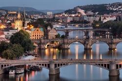 Vltava and bridges in Prague, Czech Republic