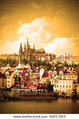 Vltava river and cityscape of Prague, Chech republic