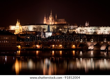Vltava River, Charles Bridge and Prague Castle at night, Prague, Czech Republic