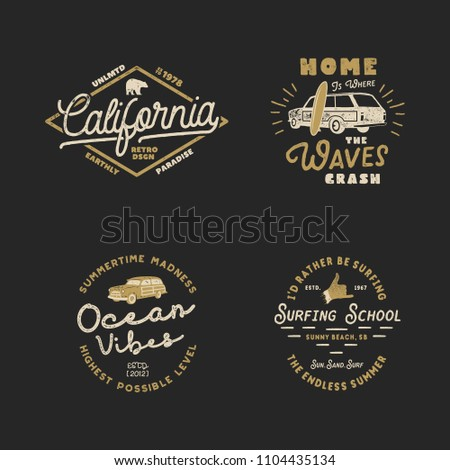 Vntage Hand Drawn Surfing Graphics and Emblems for web design or print. Surfer logotypes. Surf Logo. Summer surf logo typography insignia collection. Stock hipster patches isolated on white.