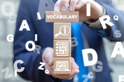 Vocabulary Dictionary Book Education Business Concept. Glossary Language School English Knowledge.