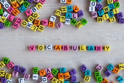 vocabulary, learning language concept from colorful letters