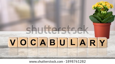 Vocabulary word on wooden cubes, english concept. ストックフォト ©