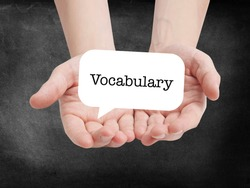 Vocabulary written on a speechbubble