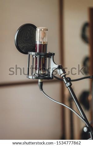 Vocal sound recording studio microphone in studio
