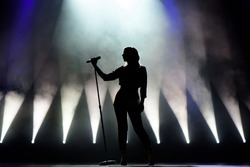 Vocalist singing to microphone. Singer in silhouette.