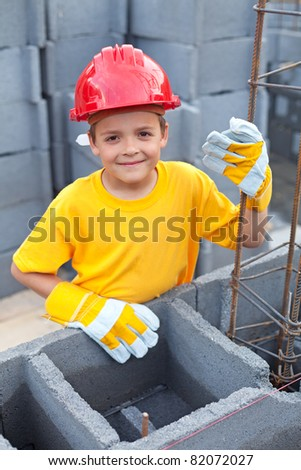 Vocational guidance - boy at construction site learning
