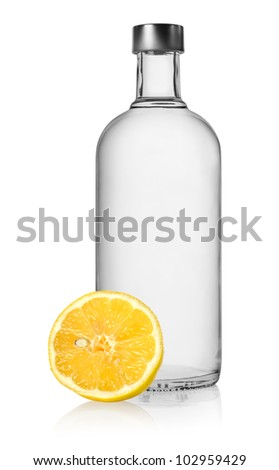 Vodka and lemon isolated