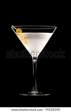Vodka Martini in front of a black background