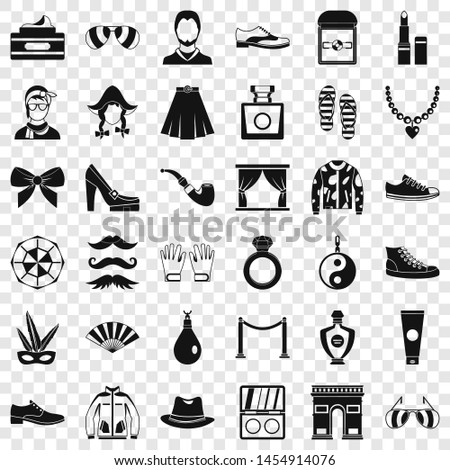 Vogue life icons set. Simple style of 36 vogue life icons for web for any design