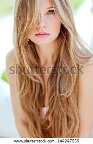 Stock Photo vogue style portrait of beautiful delicate woman