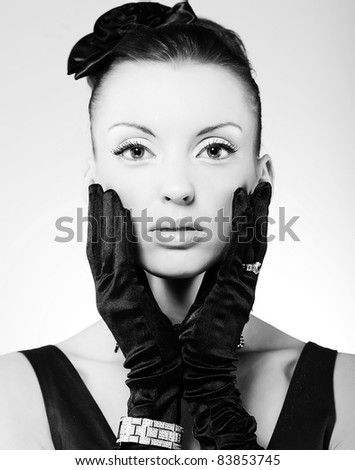 Vogue style vintage portrait - stock photo
