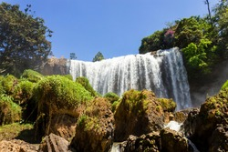 Voi Waterall In Dalat, Vietnam. Voi Waterall, Also Known As The Lieng Rơwoa Waterfall Is One Of The Biggest Waterfalls Of Lam Dong Province.