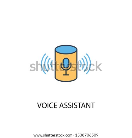 voice assistant concept 2 colored line icon. Simple yellow and blue element illustration. voice assistant concept outline symbol design