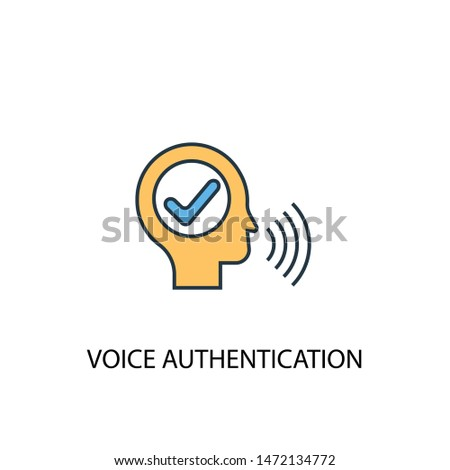 voice authentication concept 2 colored line icon. Simple yellow and blue element illustration. voice authentication concept outline symbol design