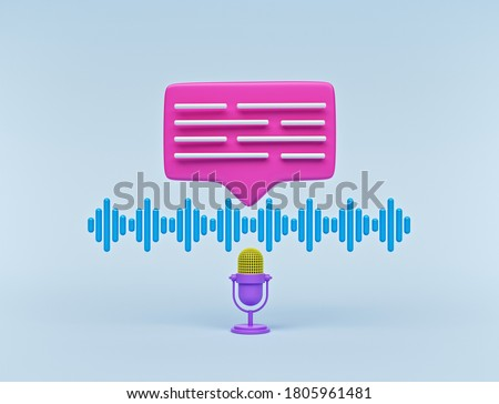 Voice messages concept. microphone, audio wave and chat bubble isolated. minimal design. 3d rendering