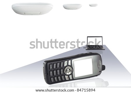Voice over IP phone and laptop with wireless access points against white