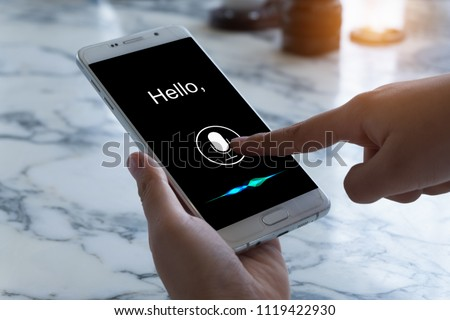 Voice recognition , Speech detect and deep learning concept. Application on mobile phone screen. #1119422930