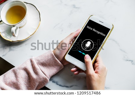 Voice recognition, Speech detect and deep learning concept. Application on mobile phone screen. #1209517486