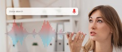 Voice Search Concept. Businesswoman Using Smart Phone Virtual Assistant App Browsing Internet Working Sitting At Workplace. Panorama, Collage