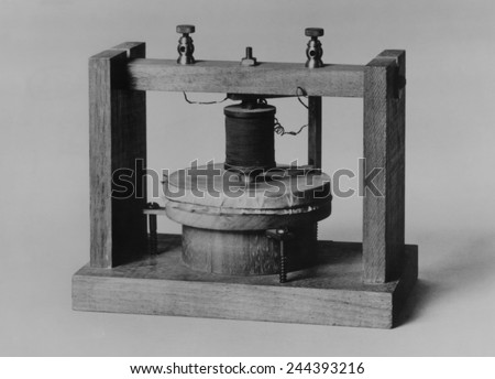 Voice sounds were transmitted for the first time on June 3, 1875 over this instrument invented by Alexander Graham Bell and Thomas Watson. The diaphragm was made of tightly stretched animal membrane.