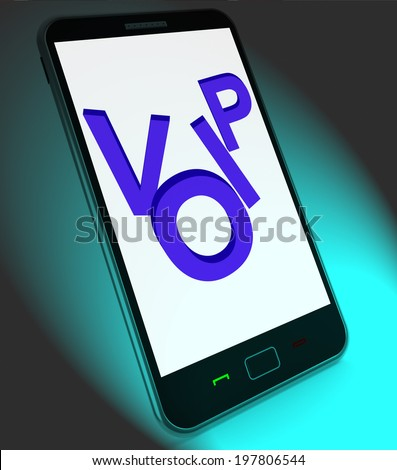 Voip On Mobile Showing Voice Over Internet Protocol Or Ip Telephony